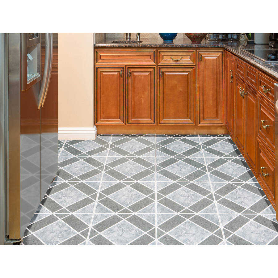 Achim Nexus Light & Dark Blue Diamond Pattern 12x12 Self Adhesive Vinyl Floor Tile - 20 Tiles/20 sq. ft.