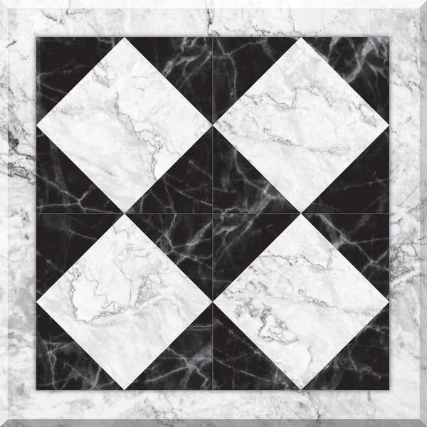 Con-Tact Brand Floor Adorn Adhesive Decorative and Removable Vinyl Floor Tiles, Marble Harlequin, 12'x12', Set of 6 in Pack of 6