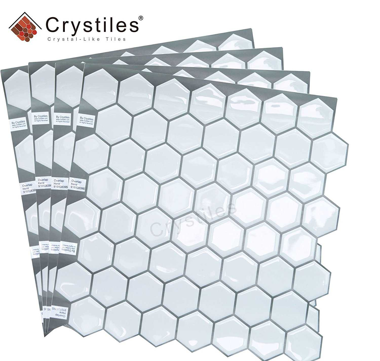 "Crystiles® 10""X10"" Hexagon White Vinyl Peel and Stick Backsplash Tile, 4-Sheet Pack, Item #91010839"