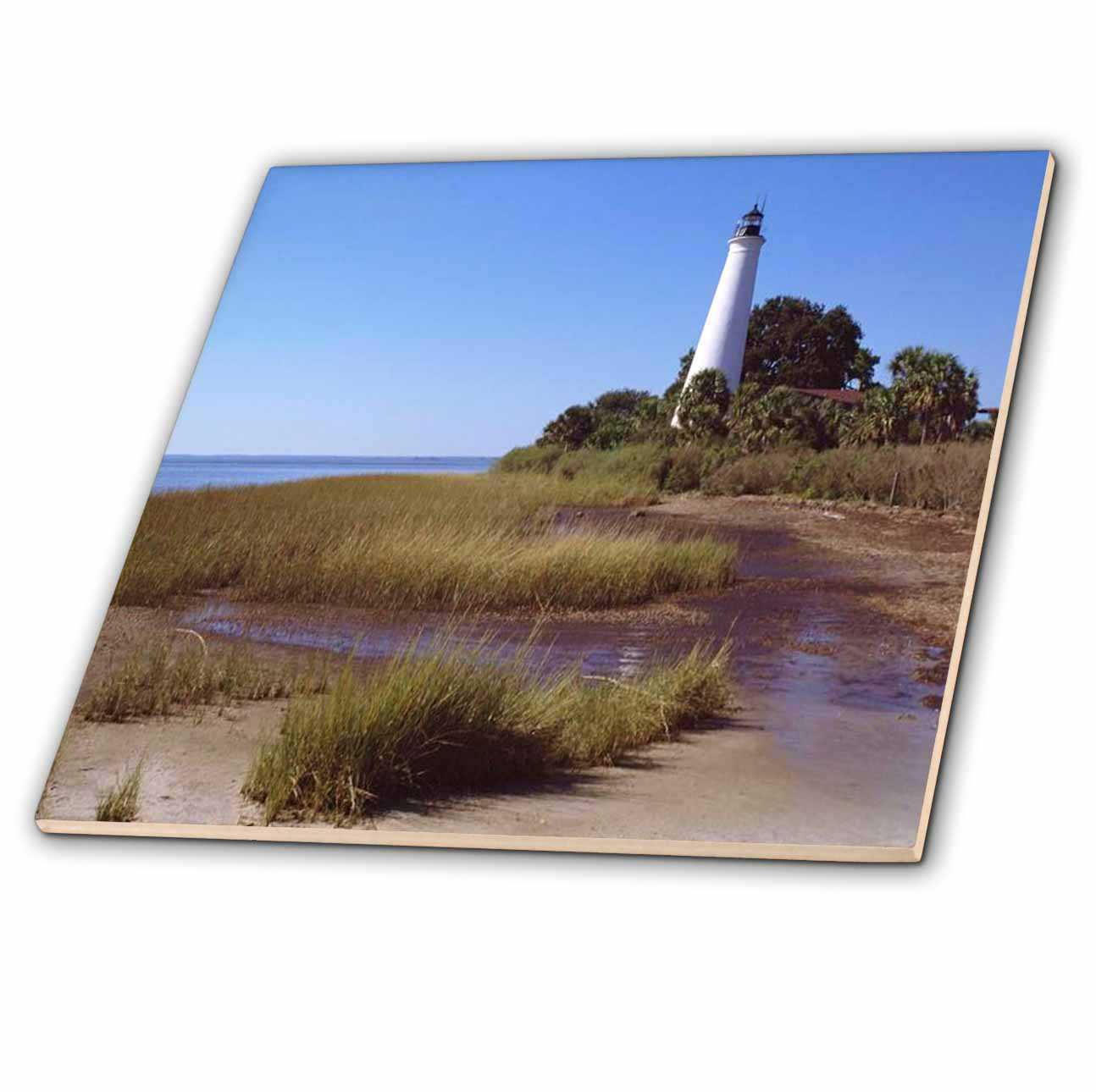 3dRose Coastal Lighthouse - Ceramic Tile, 8-inch