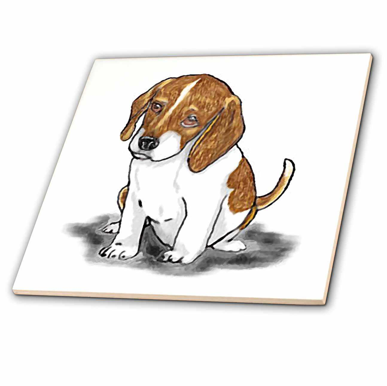 3dRose Print of Beagle Painting - Ceramic Tile, 6-inch