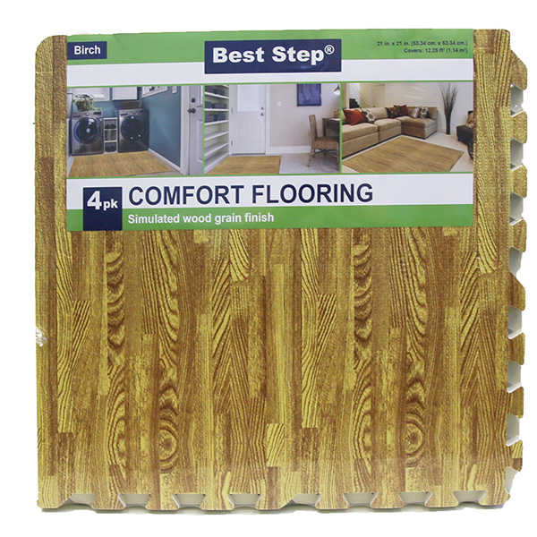 Best Step Anti Fatigue Interlocking Foam Tile Mats Wood Grain (28 Pack)