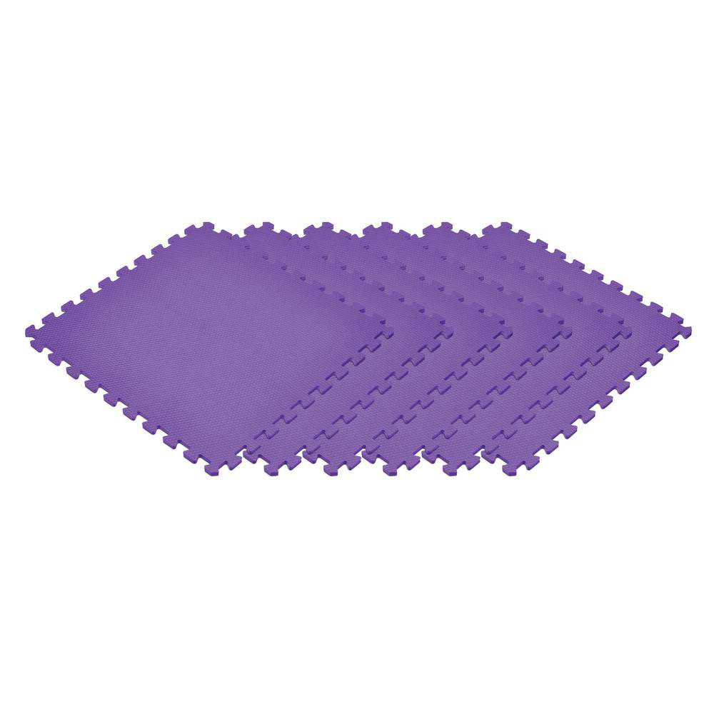 Norsk Purple 24 in. x 24 in. EVA Foam Non-Toxic Solid Color Interlocking Tiles, 24 Tiles